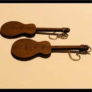 Detailed Wooden Guitar Earrings by Leanin' Tree